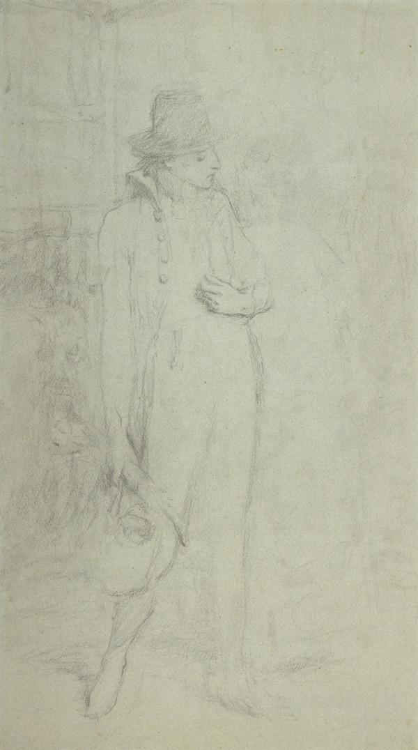 A Man Walking with a Hand on his Chest. Study for the Painting 'Housekeeping in the Honeymoon' (About 1882)