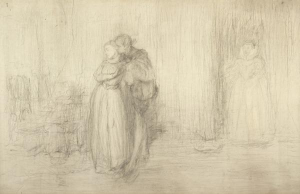 A Man Embracing a Girl with a Woman Watching in the Background. Study for the Painting 'How Delicious is the Winning of a Kiss at Love's Beginning'