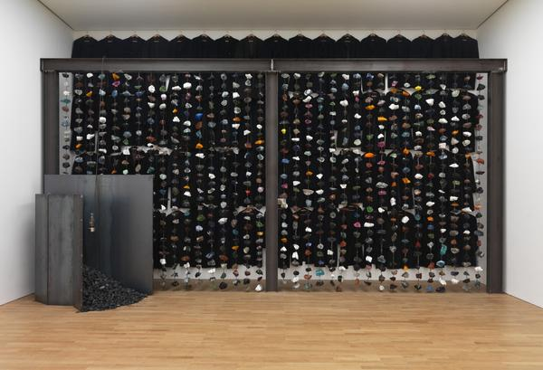 Coal Sculpture with Wall of Coloured Glass (1990)