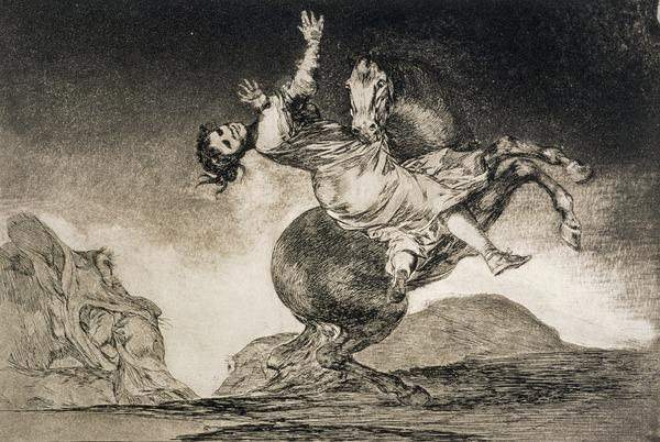 A woman and a horse, let someone else master them (La mujer y el potro, que los dome otro), Plate 10 of Los Disparates (Etched about 1819 - 1823 (published 1864))