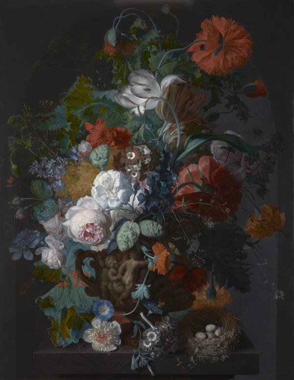 Flower Still Life with Bird's Nest (About 1718)
