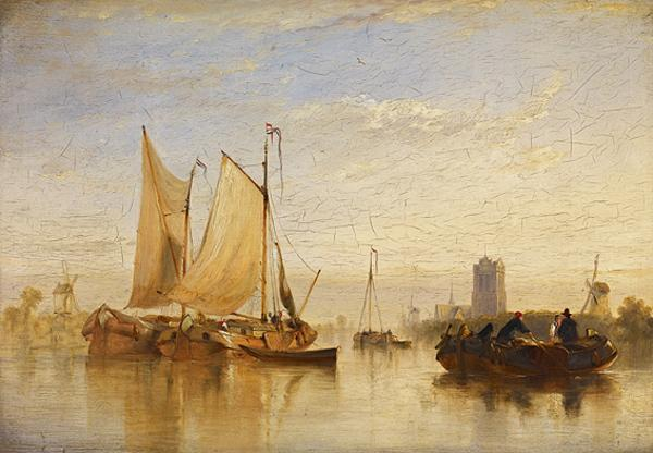 Passage Boats Becalmed on the Maas at Dort (1827)