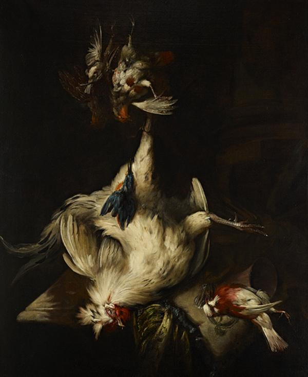Still-life with white cockerel and dead game
