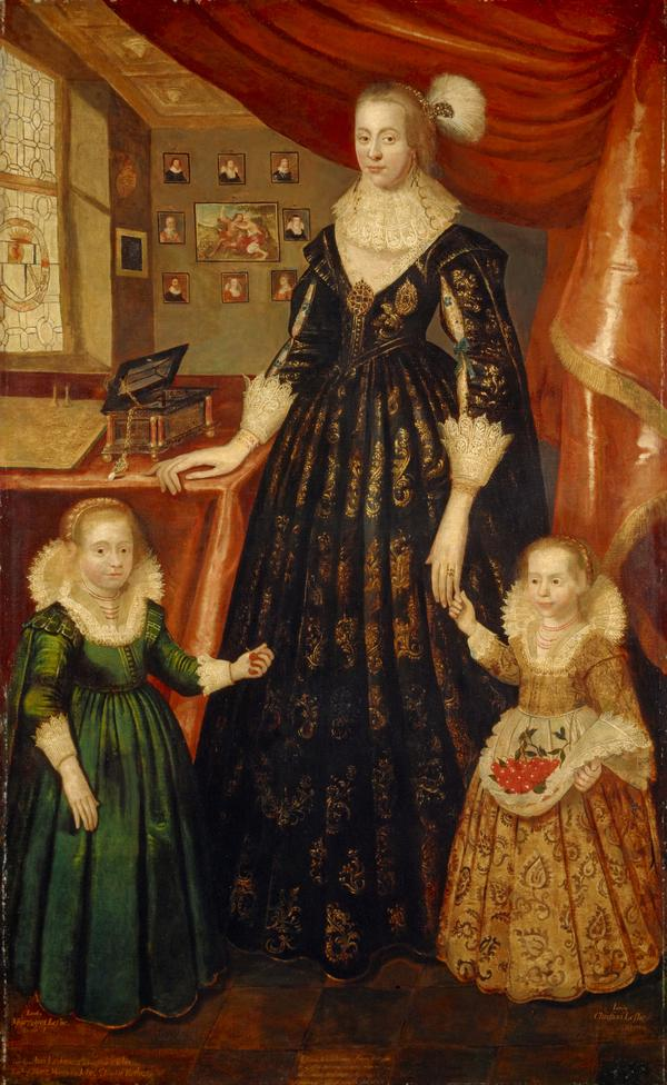 Anne Erskine, Countess of Rothes, d. 1640. Wife of the 6th Earl of Rothes. (With her daughters, Lady Margaret Leslie, 1621 - 1688 and Lady Mary... (1626)