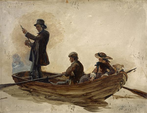 Rev. Thomas Guthrie, 1803 - 1873. Preacher and philanthropist (With his children, Patrick and Anne, fishing on Lochlee) (1855)