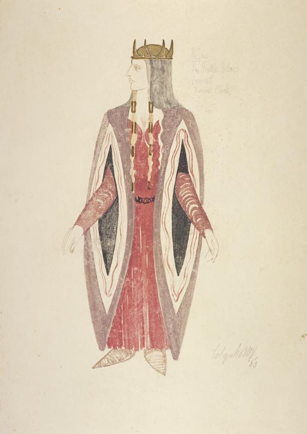 Regan in Battle Helmet, Coronet and Travel Cloak (Costume Design for 'King Lear') (1953)