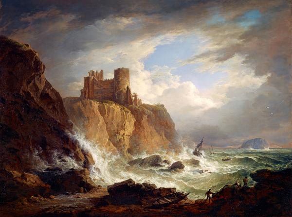 A View of Tantallon Castle with the Bass Rock