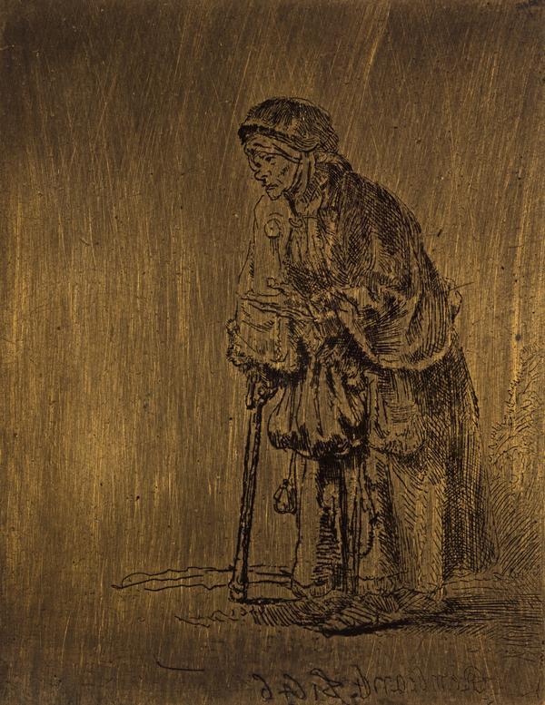 Beggar Woman Leaning on a Stick (Bartsch no. 170) (1646)