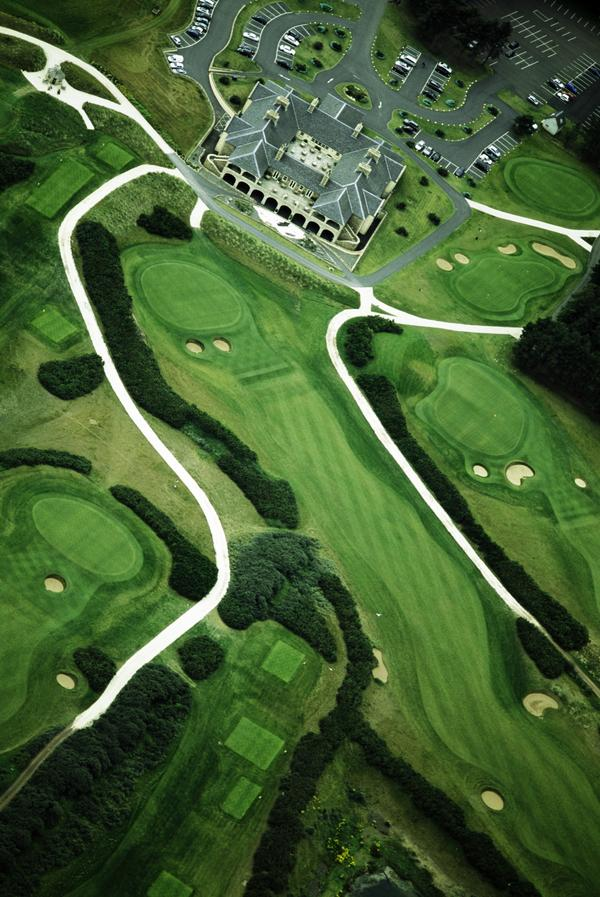 Bunkered Terrain: Golf Landscapes, Scotland (six-part work) #6: Archerfield Links, East Lothian: the 18th, Dirleton Links course, and clubhouse,... (2011)