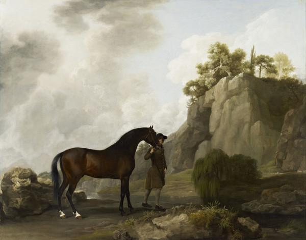 The Marquess of Rockingham's Arabian Stallion (led by a Groom at Creswell Crags) (About 1780)