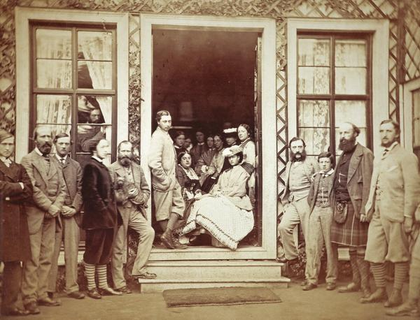 Mar Lodge, group in the doorway of the smoking room including the Prince and Princess of Wales (August 1863)