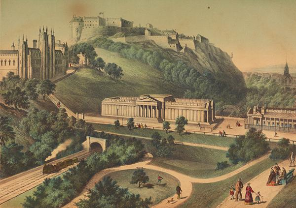Edinburgh Castle, The National Gallery of Scotland and the Free Church College (Late 19th century)