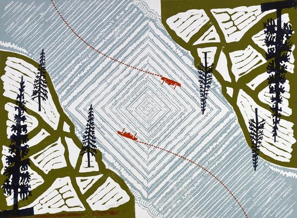 Design for Wrapping Paper (Boats Crossing the Water) (About 1960)