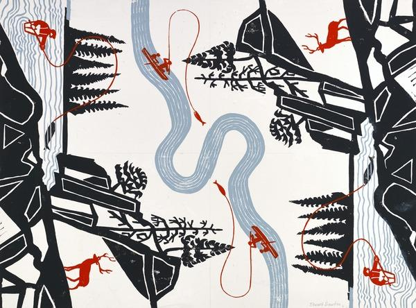 Design for Wrapping Paper (Anglers and Deer in a Landscape) (About 1960)