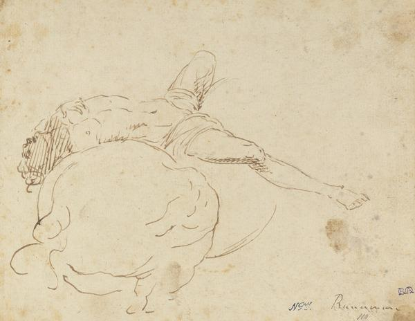 Study of a Figure Being Tossed Backwards [Verso: Sketch of Three Figures]