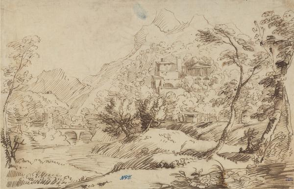 A Mountainous Landscape with Buildings and a Temple Among Trees