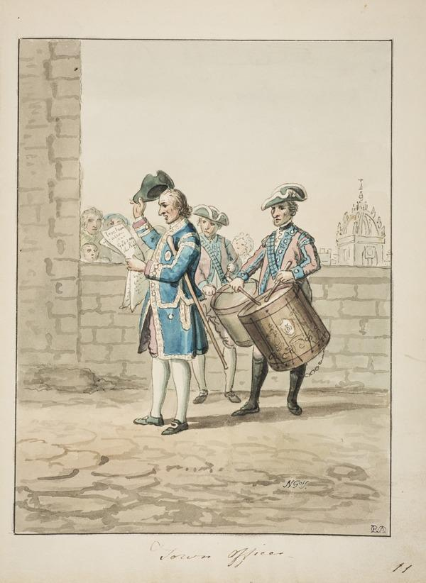 A Town Officer Reading a Proclamation - Behind him, Two Soldiers with Drums (About 1785)