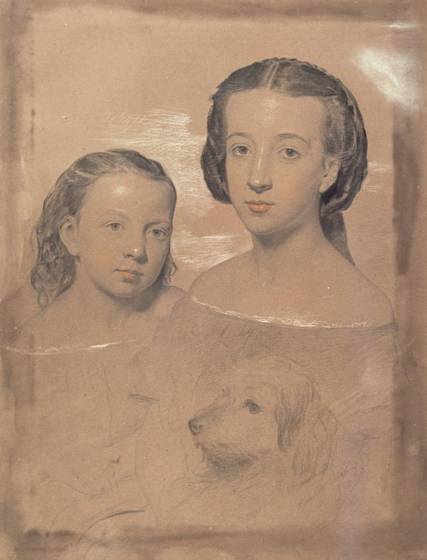 Two Girls and a Dog (Dated 1857)