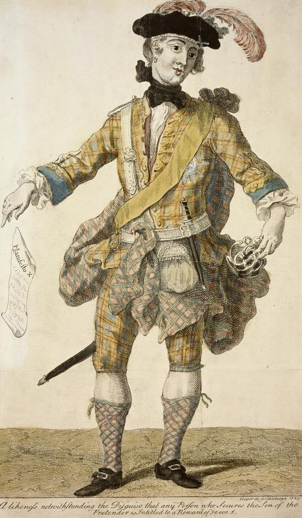 Prince Charles Edward Stuart, 1720 - 1788. Eldest son of Prince James Francis Edward Stuart ('Wanted Poster') (1745)