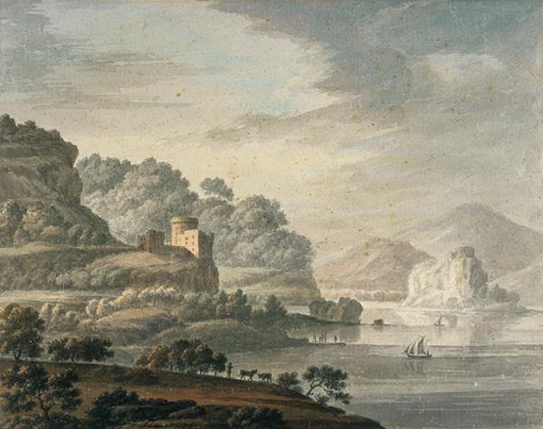 Landscape with a Castle, Lake and Sailing Boats (Dated 1786)