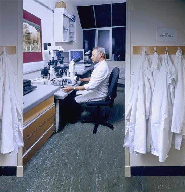 Embryologist Bill Ritchie in the micro-manipulation lab at The Roslin Institute (2002)