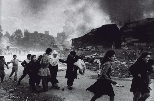 Palestinian Refugees Fleeing East Beirut Massacre (1976 (printed 2013))