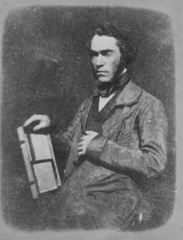 John Muir Wood, holding a photographic printing frame