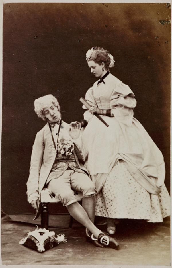 The Hon. Lewis Wingfield and Miss H. Moncrieffe as Mr Primrose and Miss Winterblossom, in 'Popping the Question' (1 September 1863)