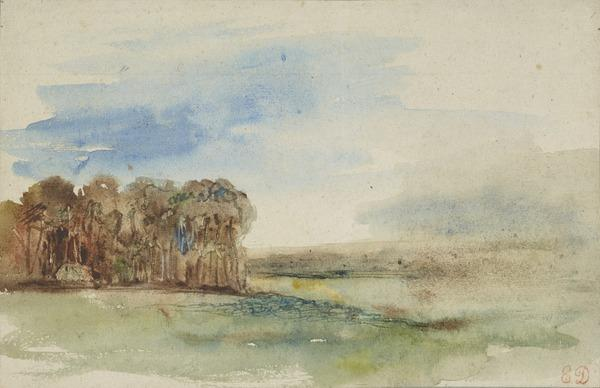 Landscape Sketch with Trees to the Left