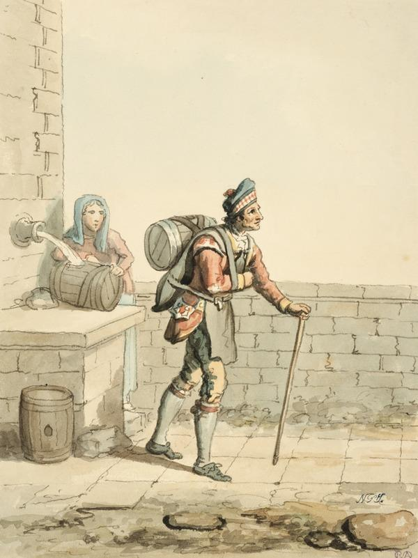 An Edinburgh Watercarrier with a Woman Standing at a Fountain (About 1785)