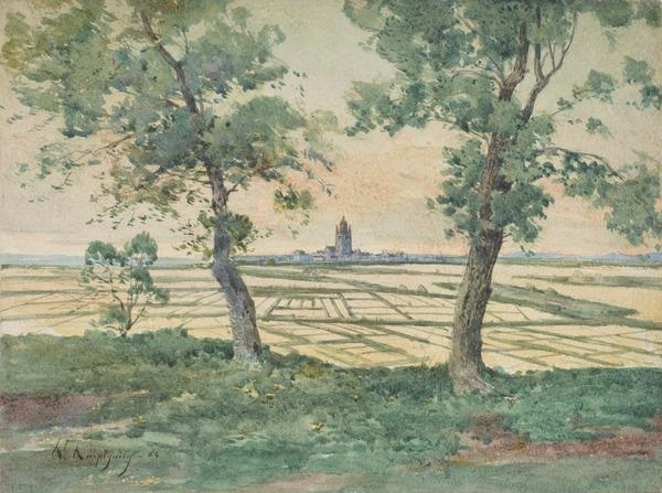 View of a Distant Town (Dated 1864)