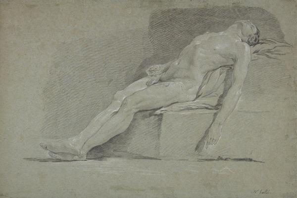 A Seated Nude Reclining on Draped Blocks