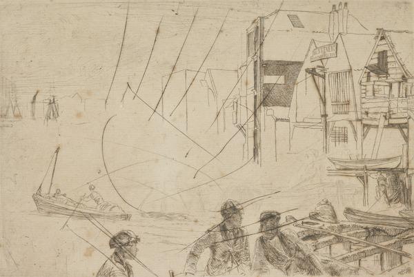 A Wharf / Sketch of shipping (cancelled plate)