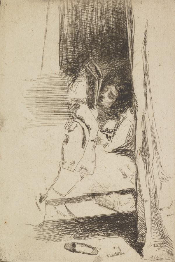 Reading in Bed - The Slipper (About 1859)