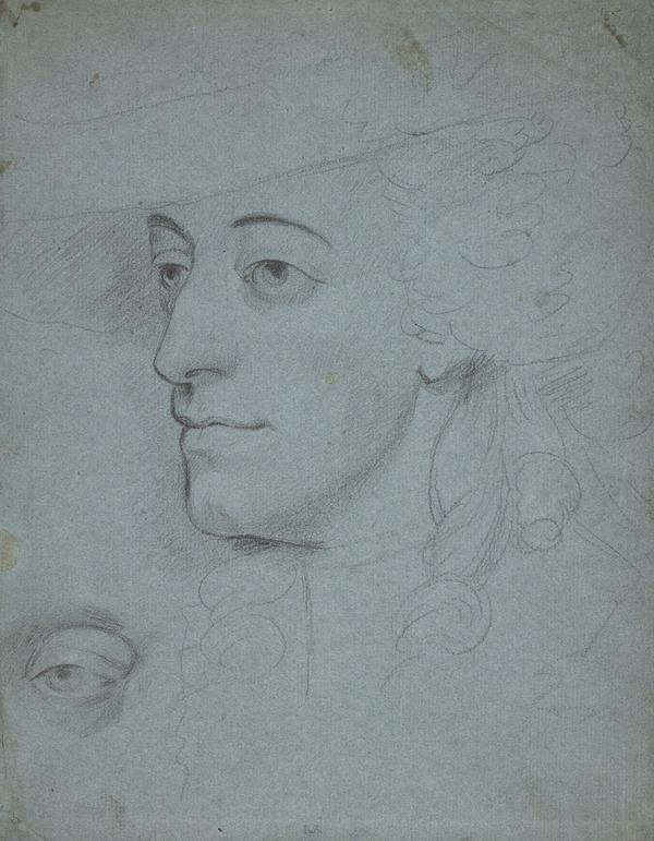 Sarah Kemble, Wife of William Siddons, 1755 - 1831. Actress. Copy after the Painting by Thomas Gainsborough [Verso: Sketch of Legs and Breeches]