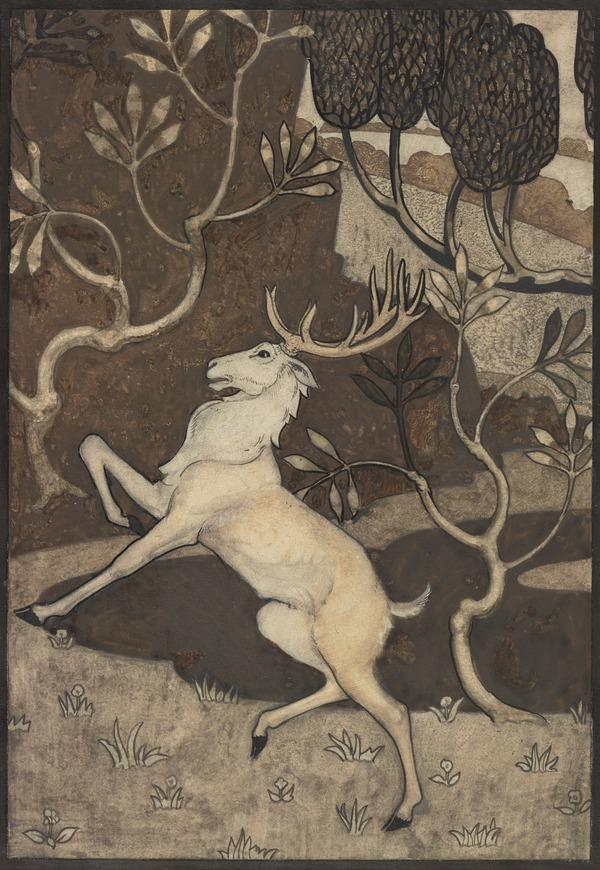 'His hound is to the hunting gane' (1 of 2 sheets mounted together to form one illustration): one of a series of illustrations for 'The Twa Corbies' (About 1939)