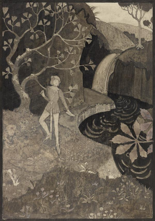 'As I was walking a' alone' (1 of 2 sheets mounted together to form one illustration): one of a series of illustrations for 'The Twa Corbies' (About 1939)