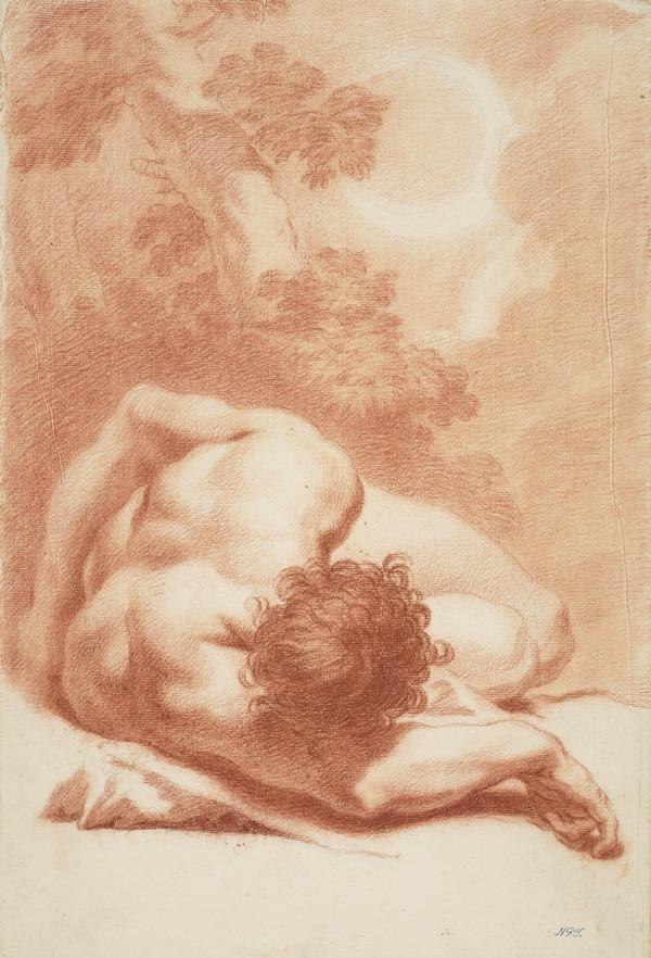 Foreshortened View of a Nude Man against a Landscape Background. Copy after a drawing by Benedetto Luti (Dated 1754 on the verso)
