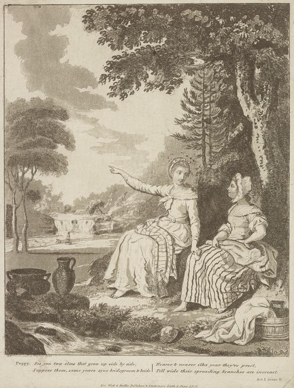Illustration to Allan Ramsay's 'The Gentle Shepherd': Peggy Advocates a Sweetheart' (Published 1808)