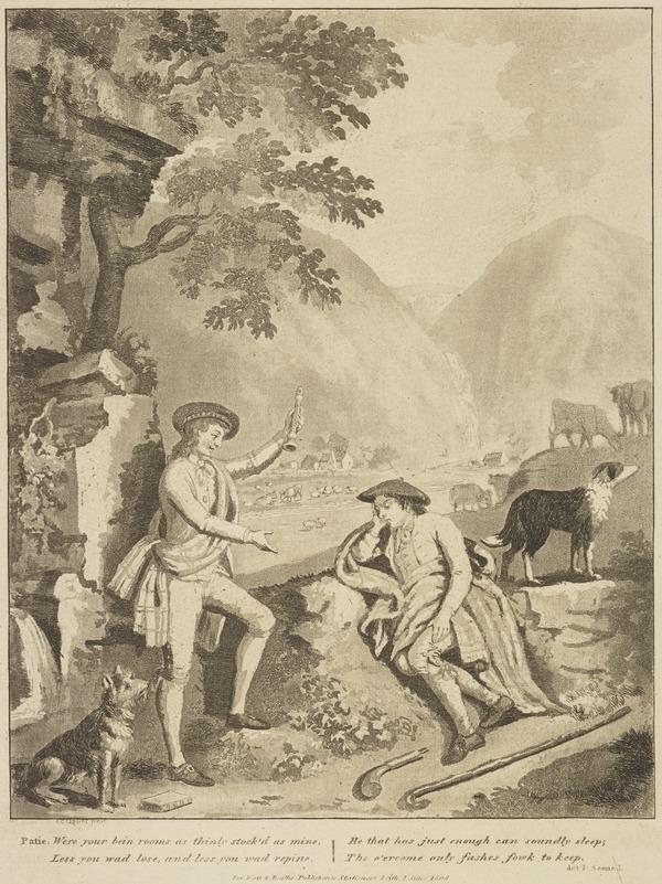 Illustration to Allan Ramsay's 'The Gentle Shepherd': Patie Rebukes Roger (Published 1808)