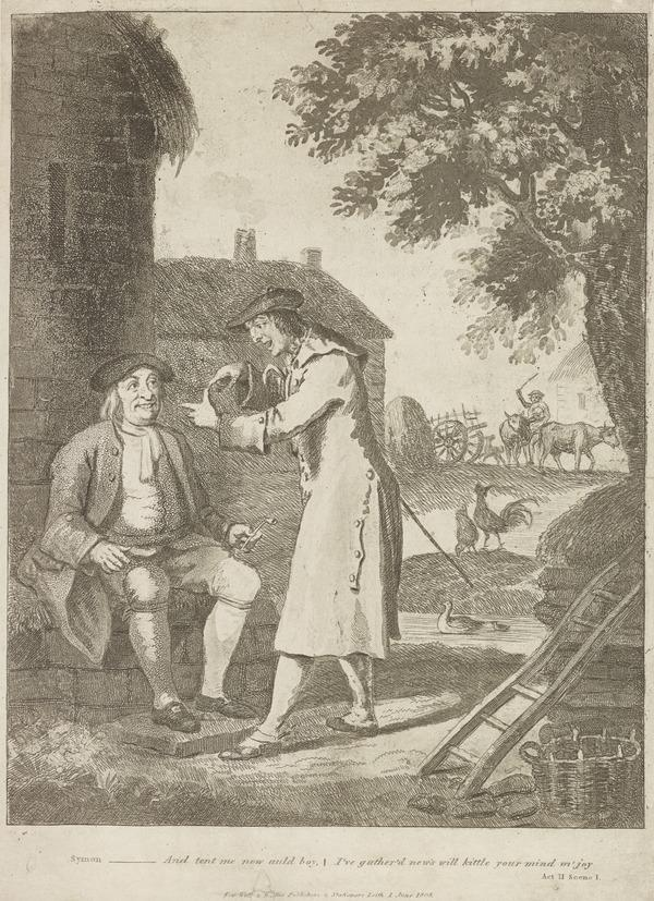 Illustration to Allan Ramsay's 'The Gentle Shepherd': Symon Breaks the News to Glaud (Published 1808)