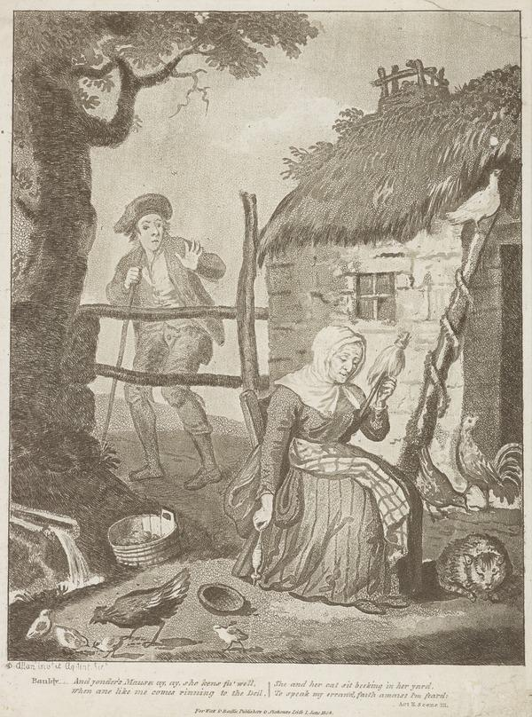 Illustration to Allan Ramsay's 'The Gentle Shepherd': Bauldy Consults Maud (Published 1808)