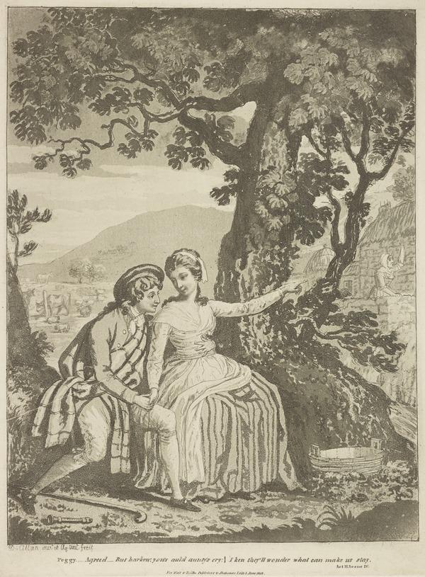 Illustration to Allan Ramsay's 'The Gentle Shepherd': Peggy Accepts Patie (Published 1808)