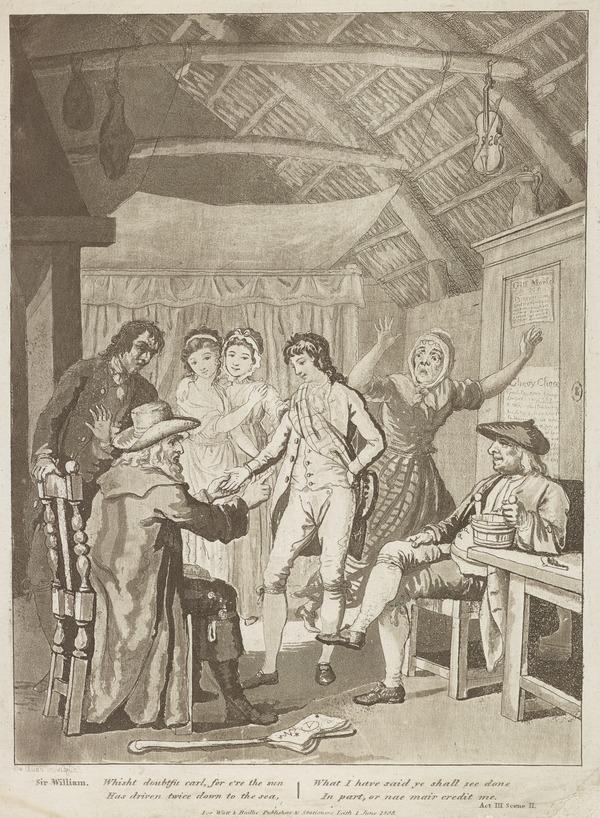 Illustration to Allan Ramsay's 'The Gentle Shepherd': Sir William Worthy Tells Fortune (Published 1808)