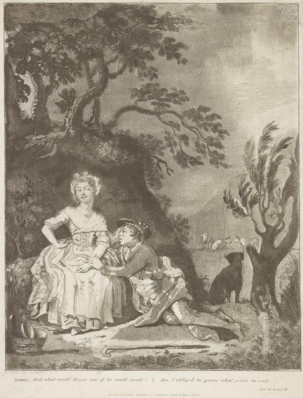 Illustration to Allan Ramsay's 'The Gentle Shepherd': Jenny Lures Roger On (Published 1808)