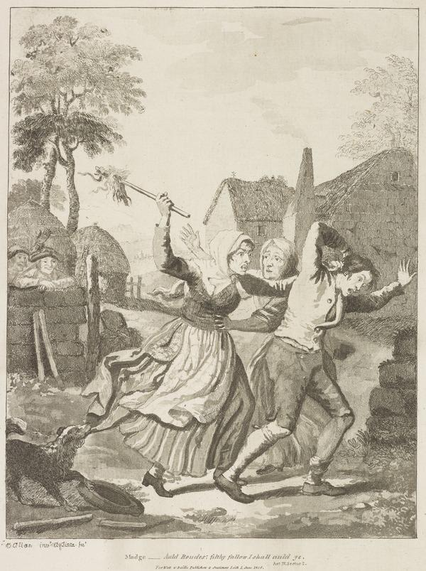 Illustration to Allan Ramsay's 'The Gentle Shepherd': Madge Routs Bauldy (Published 1808)