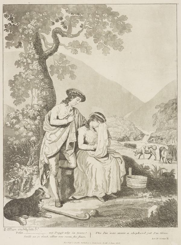 Illustration to Allan Ramsay's 'The Gentle Shepherd': Patie Re-affirms His Love for Peggy (Published 1808)