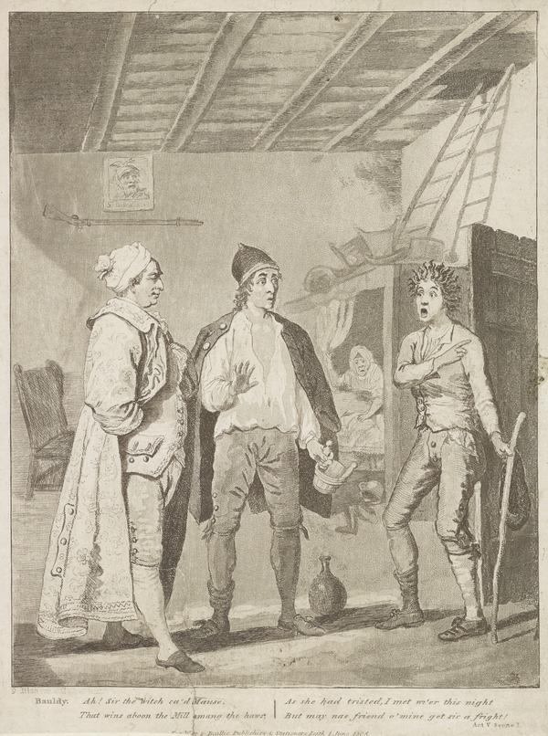 Illustration to Allan Ramsay's 'The Gentle Shepherd': Bauldy Describes His Fright (Published 1808)