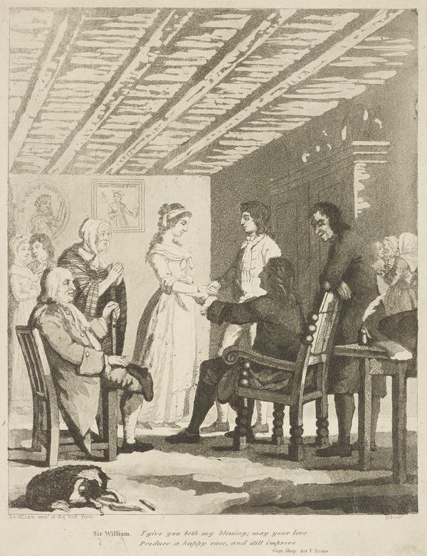 Illustration to Allan Ramsay's 'The Gentle Shepherd': Sir William Worthy's Blessing (Published 1808)