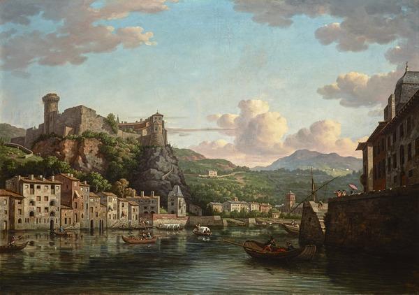A View of the Château de Pierre Scize on the river Saône at Lyon ()